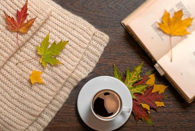 Cup of coffee, book, autumn leaves ans wool scarf on table