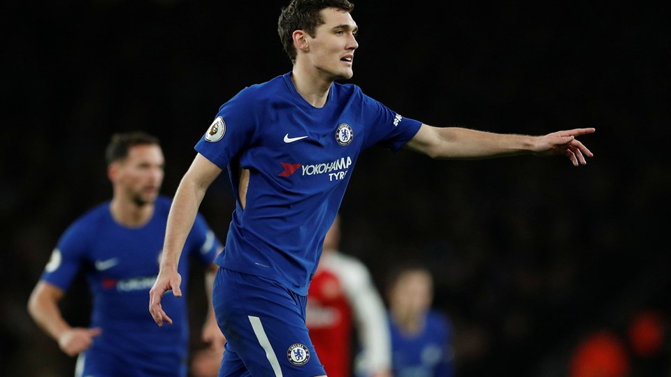 """Soccer Football - Premier League - Arsenal vs Chelsea - Emirates Stadium, London, Britain - January 3, 2018 Chelsea's Andreas Christensen with a tear in his shirt Action Images via Reuters/John Sibley EDITORIAL USE ONLY.No use with unauthorized audio, video, data, fixture lists, club/league logos or """"live"""" services. Online in-match use limited to 75 images, no video emulation.No use in betting, games or single club/league/player publications. Please contact your account representative for further details."""