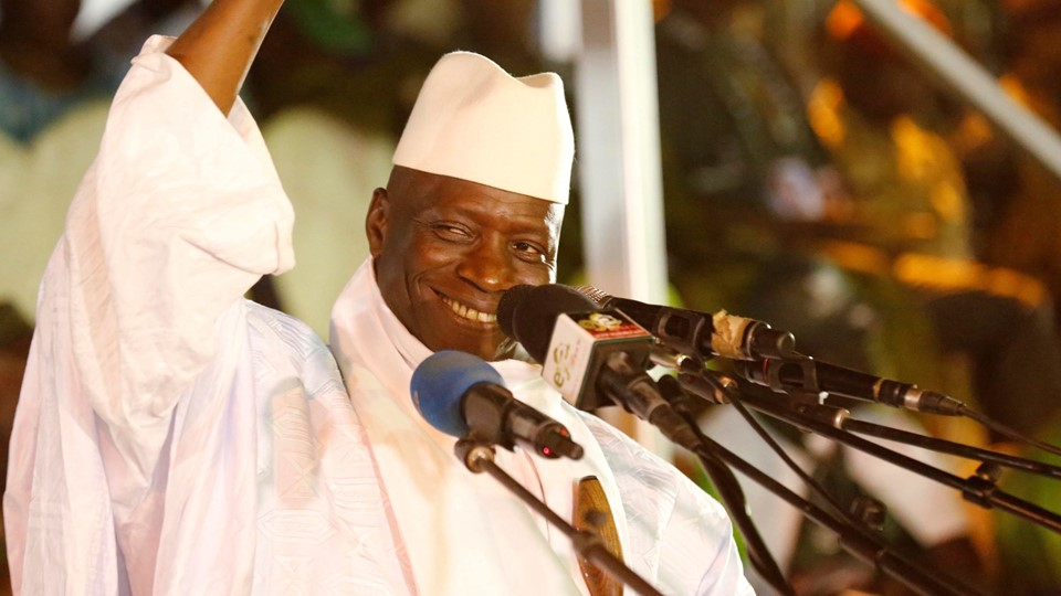 Gambia's President Jammeh smiles during a rally in Banjul Foto: Reuters/Thierry Gouegnon