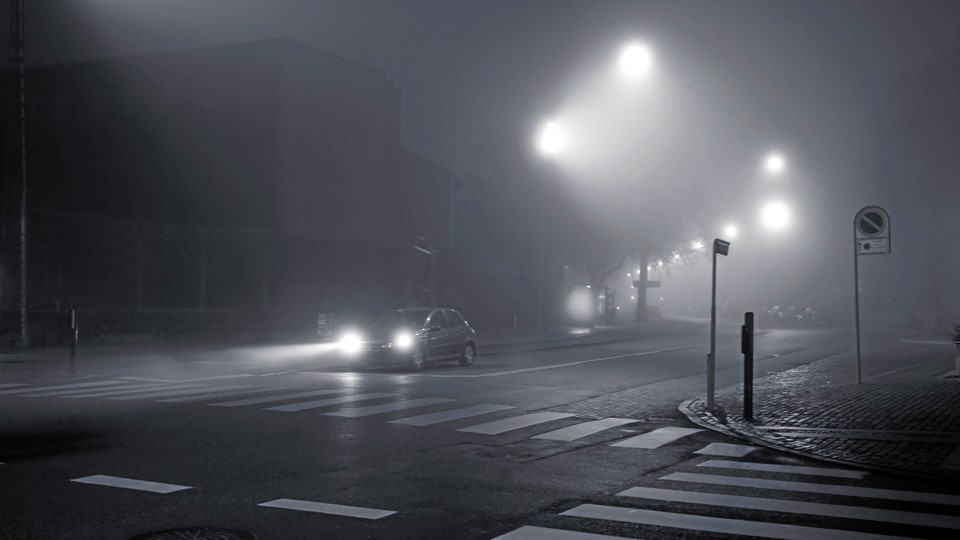 Foggy winter evening in the city. 1600 ISO