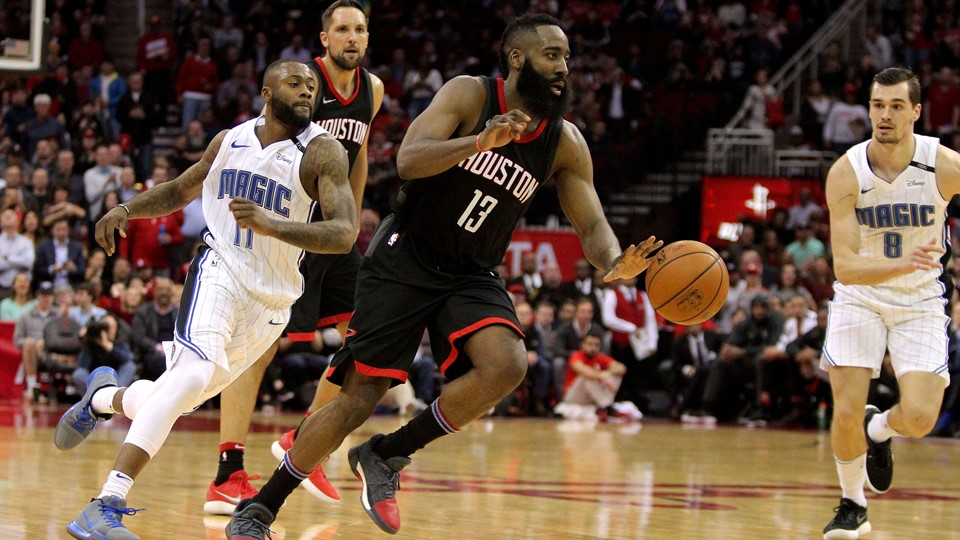 James Harden var ustoppelig, da Houston Rockets slog Orlando Magic tirsdag aften. Foto: Scanpix/Erik Williams