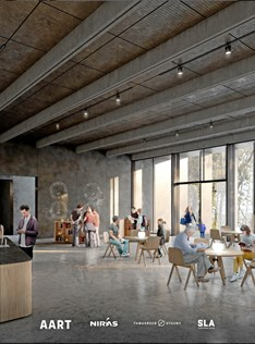 Café området. Tegning: Aart Architects