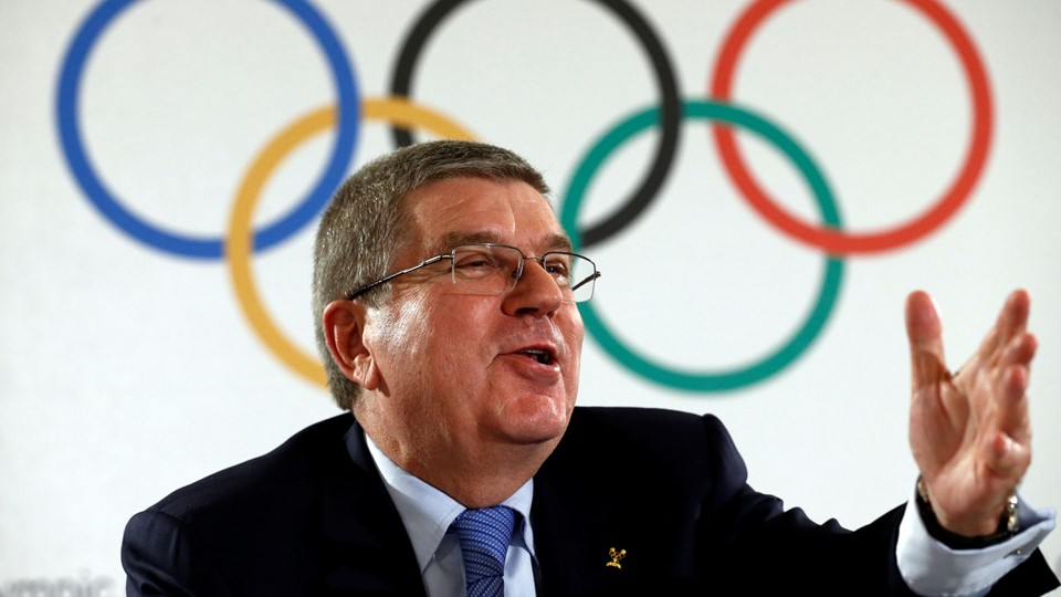 IOC President Bach attends a news conference after an Executive Board meeting in Lausanne Foto: Reuters/Denis Balibouse