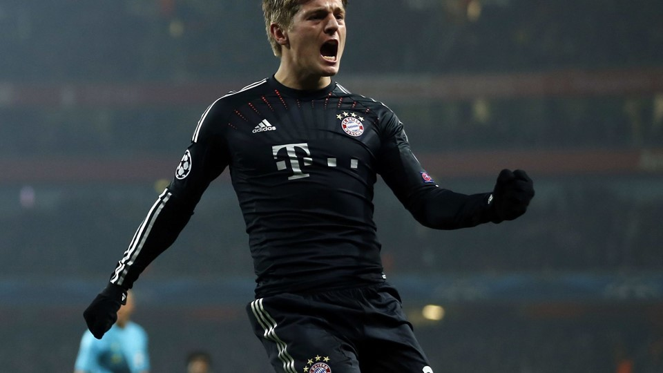 Toni Kroos fejrer sin scoring i London mod Arsenal i Champions League. Foto: Scanpix.