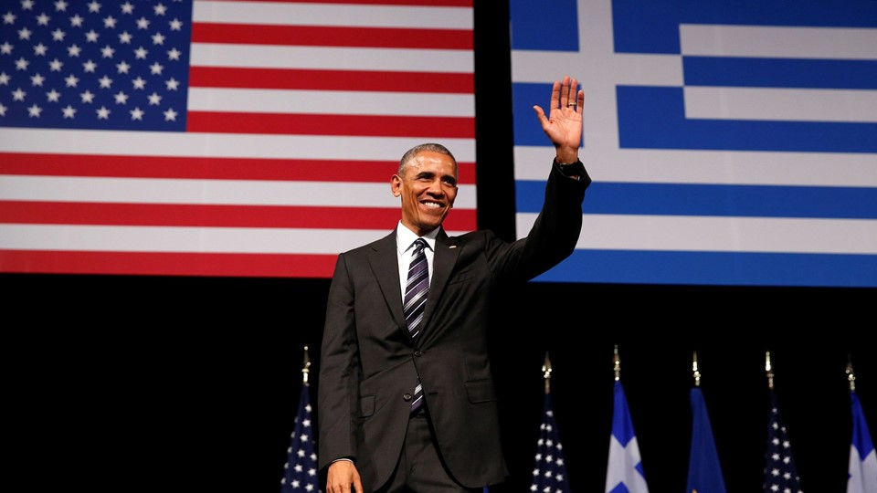 U.S. President Barack Obama acknowledges applause after delivering a speech at the Stavros Niarchos Foundation Cultural Center in Athens, Barack Obama Foto: Reuters/Kevin Lamarque