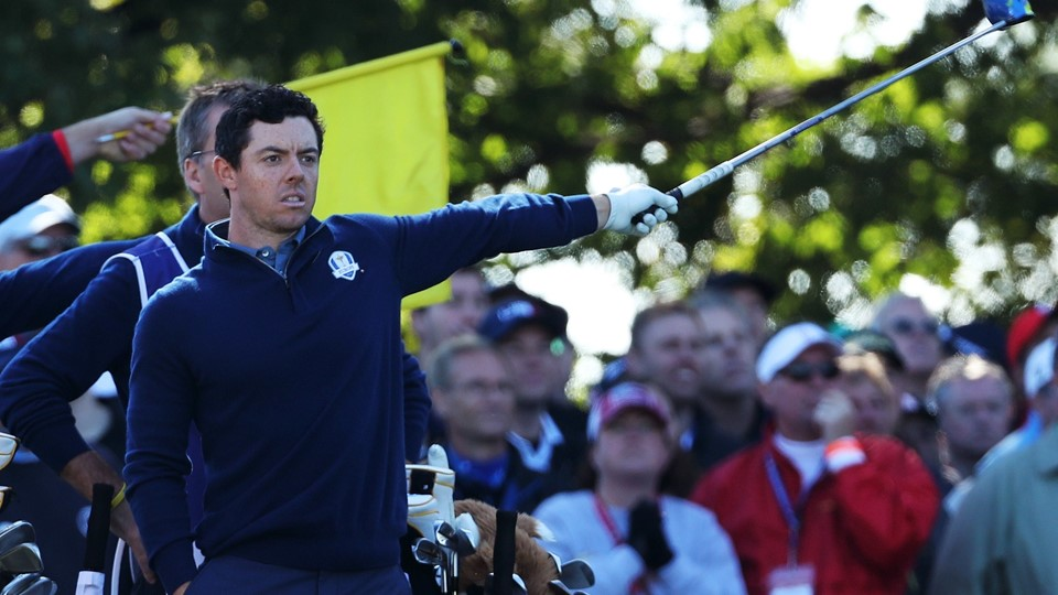 CHASKA, MN - SEPTEMBER 30: Rory McIlroy of Europe reacts on the 16th tee during morning foursome matches of the 2016 Ryder Cup at Hazeltine National Golf Club on September 30, 2016 in Chaska, Minnesota. David Cannon/Getty Images/AFP == FOR NEWSPAPERS, INTERNET, TELCOS & TELEVISION USE ONLY ==