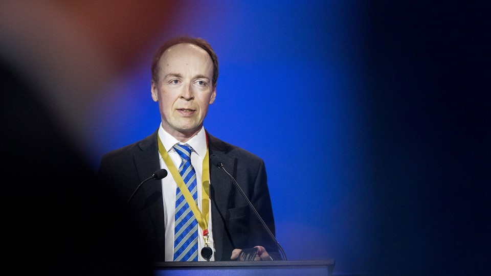 Finnish politician and a member of the European Parliament Jussi Halla-aho delivers a speech after being elected a new chairman of the Finns Party at the congress in Jyvaskyla Foto: Reuters/Lehtikuva
