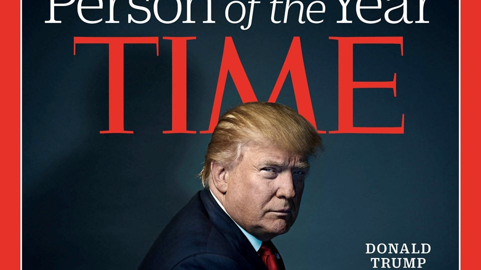 U.S. President-elect Donald Trump poses on the cover of Time Magazine after being named its person of the year Foto: Reuters/Handout/arkiv