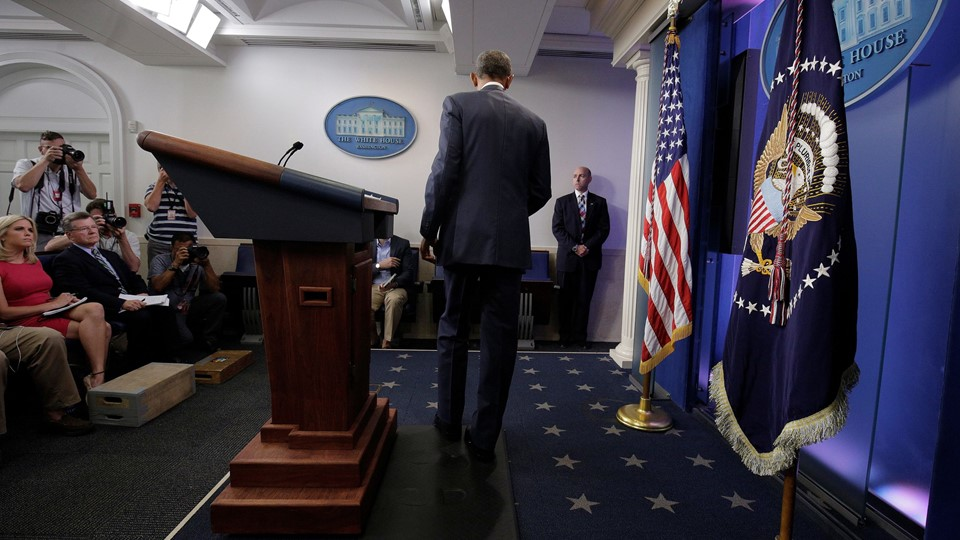 U.S. President Barack Obama walks from the lectern after making a statement on the shooting of police officers in Baton Rouge, Louisiana, from the White House in Washington, Barack Obama Foto: Reuters/Joshua Roberts