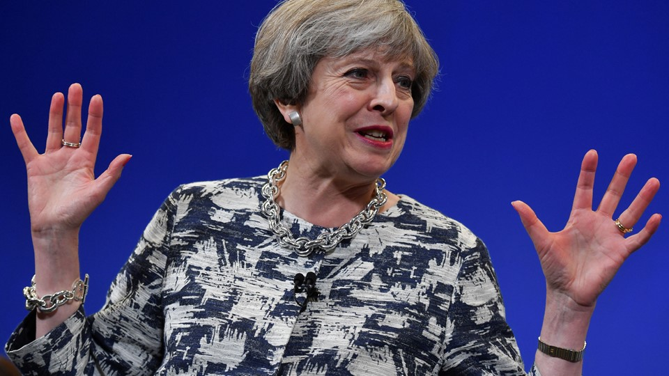Britain''s Prime Minister and leader of the Conservative Party Theresa May speaks during a general election campaign event in Norwich Foto: Reuters/Pool
